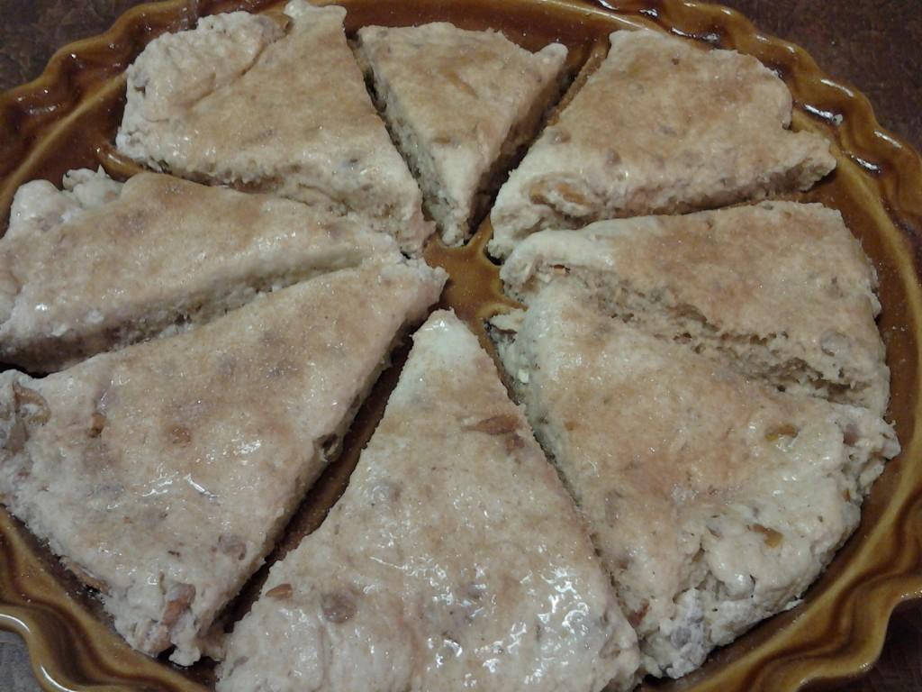 Scone dough - sprinkle with cinnamon sugar