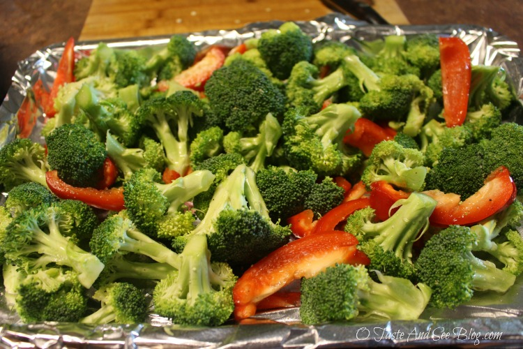 Roasted Broccoli and Red Peppers #JennyCraigKit #ad