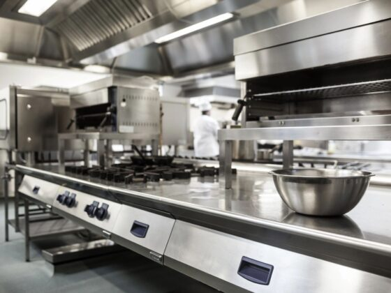 Close up of commercial kitchen interior.
