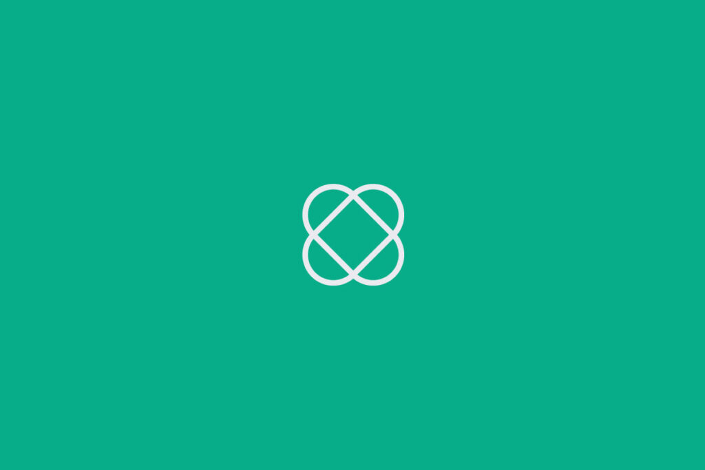 Pale purple Loopcycle symbol on green background.