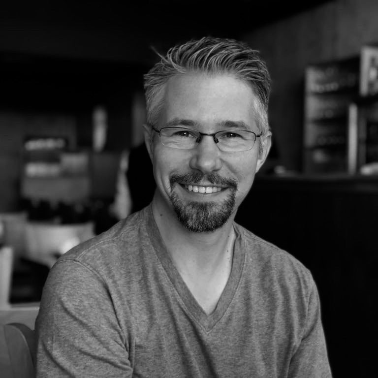 Mark's portrait in black and white.