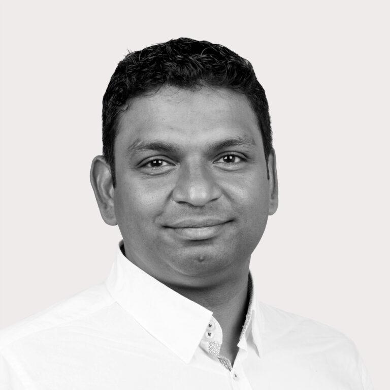 Chandan's portrait in black and white