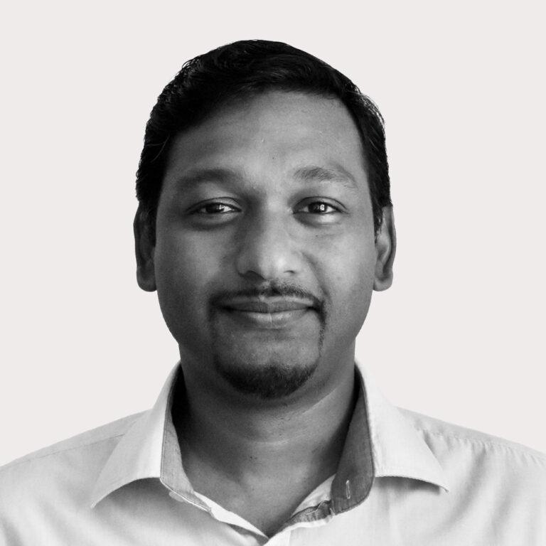 Prem's portrait in black and white