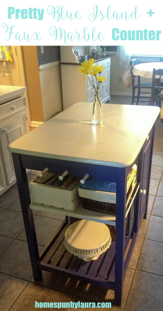 Pretty Blue Island and Faux Marble Counter | Homespun by Laura | Using paint to transform ugly kitchen island into a showpiece!