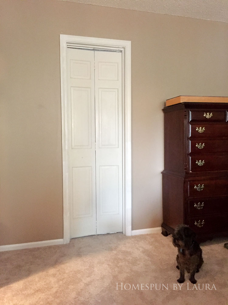 Master bedroom refresh | Homespun by Laura | The master bathroom: Before the barn door!