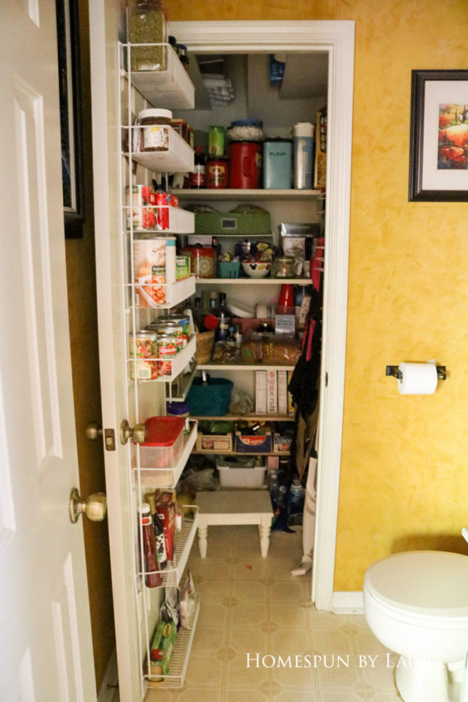 $75 DIY Powder Room (and Pantry!) Update: One Room Challenge Week 1| Homespun by Laura | Disorganized pantry: The before