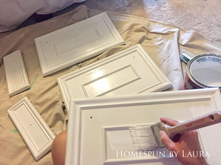 $200 Master Bathroom Refresh   Homespun by Laura   Painting the vanity and hardware made a huge impact - and it was free!