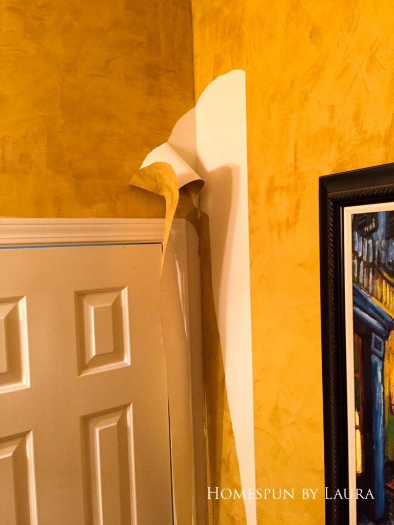 Removing wallpaper in the powder room bathroom | Homespun by Laura