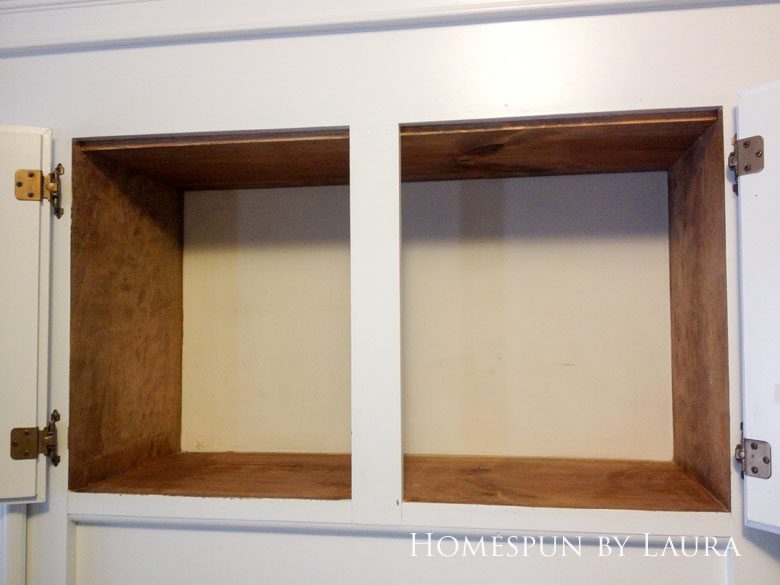 $75 DIY Powder Room (and Pantry!) Update: One Room Challenge Week 6 | Homespun by Laura | Organizing the Pantry - creating usable and convenient storage in the cabinet above the kitchen sink