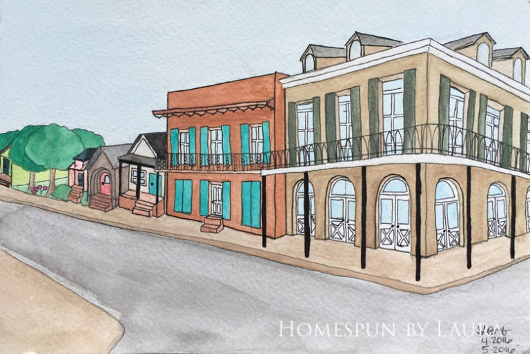 New Orleans architecture watercolor doodle   Homespun by Laura