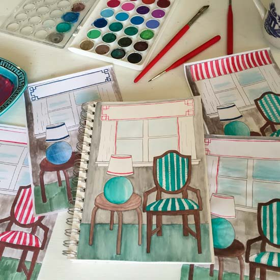 Using watercolors to sketch out potential design and finishes for the office   Homespun by Laura