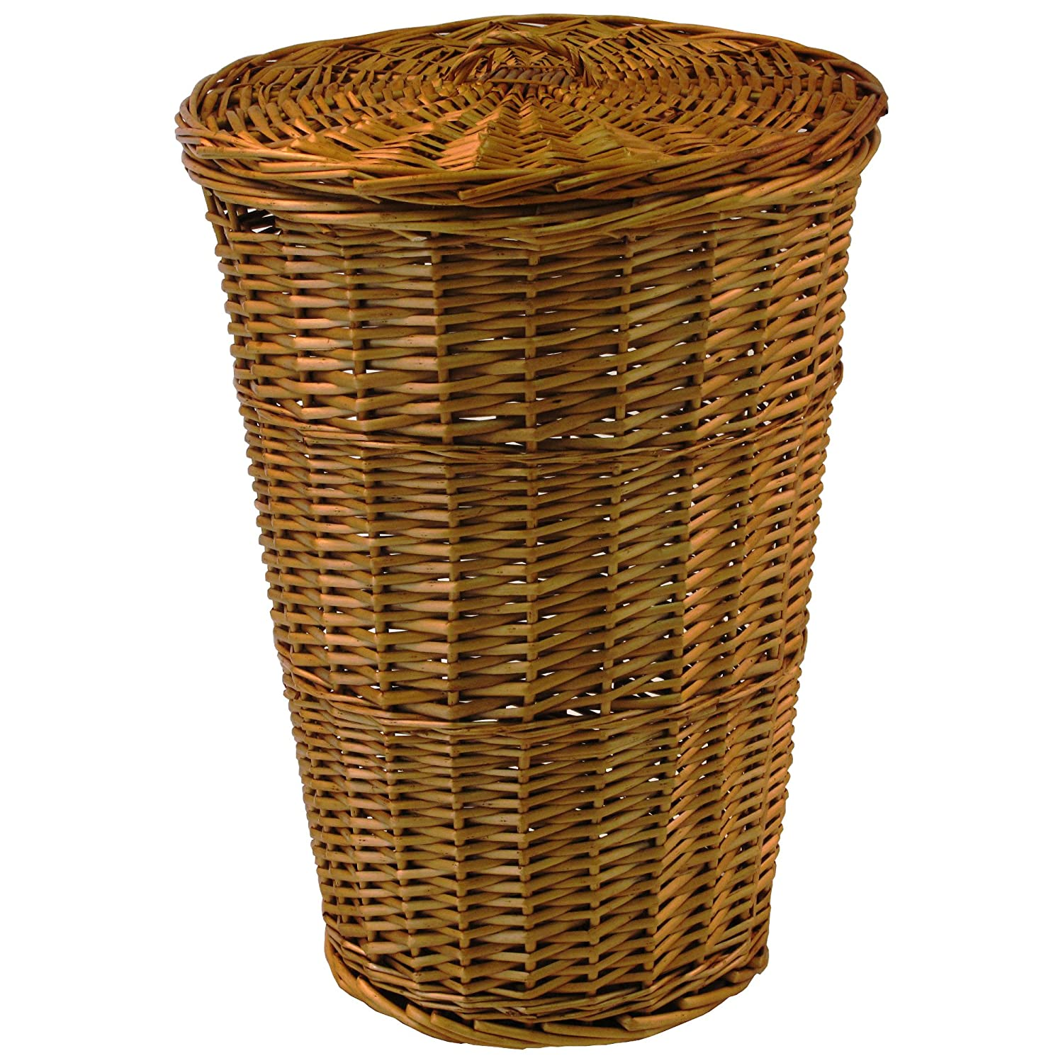 wicker laundry hamper with lid