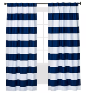 Striped navy and white blackout curtains