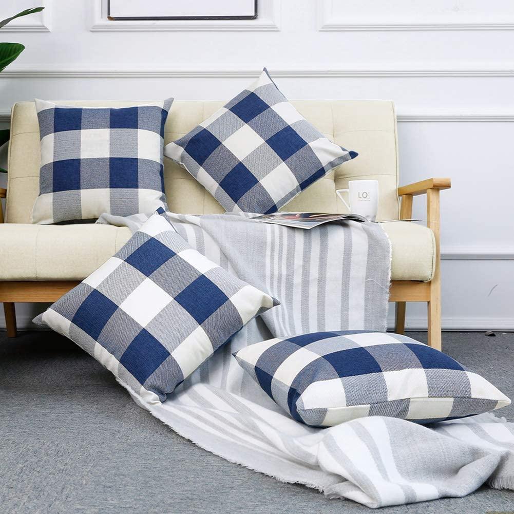 Navy-White Gingham-Buffalo Check Pillows