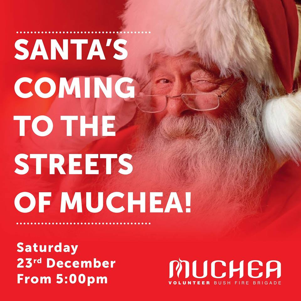 Look whose coming to the Muchea Town site on Saturday from 5pm onwards he will be on a firetrucktraveling the streets of Muchea,,,,thanks ,,,,if you tag your street we will try not to miss it thanks