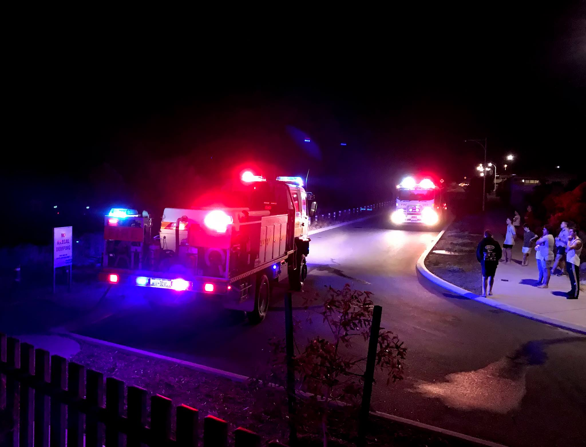 Wanneroo Central Volunteer Bush Fire Brigade showing curious bystanders. Photo: Facebook