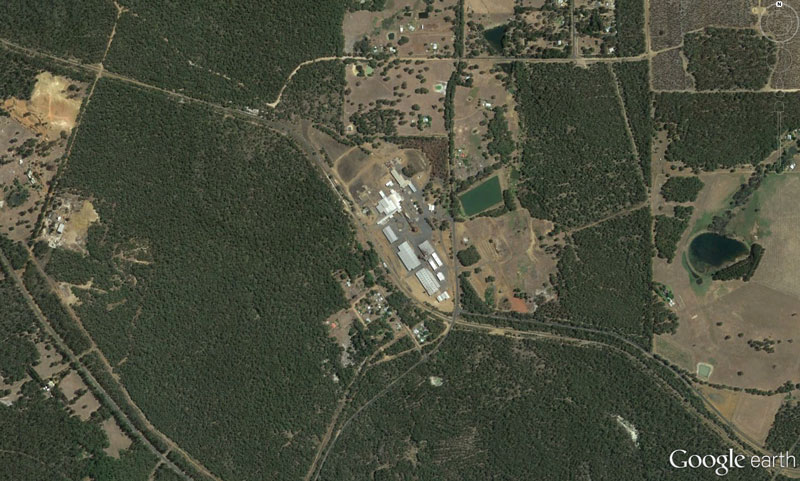 A google Earth photo showing the dense foliage surrounding the Greenbushes Timber Mill. Photo Google Earth