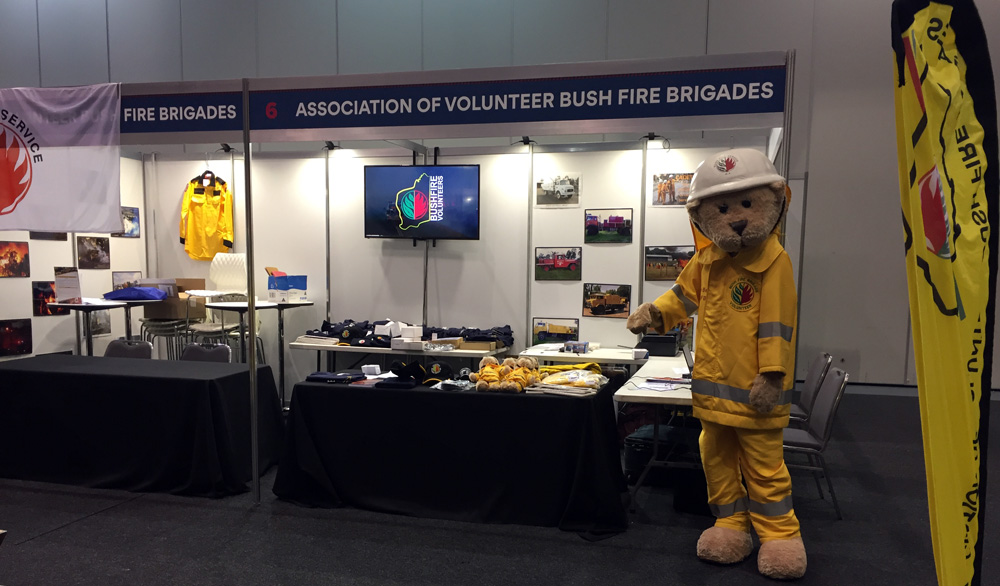 The Bushfire Volunteers booth at the 2019 WAFES Conference in Perth 6-8 September 2019