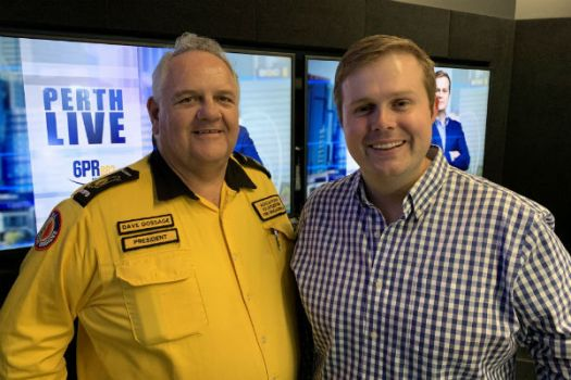 Bushfire Volunteers President Dave Gossage and Radio 6PR's Oliver Peterson