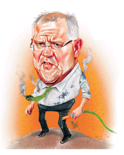 Prime Minister Scott Morrison Caricature. Courtesy The West