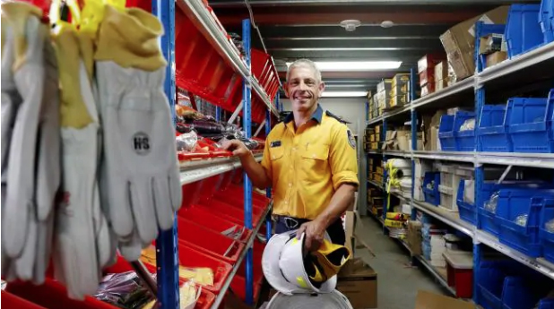 Rural Fire Service Shoalhaven district manager Mark Williams in the supply room at Nowra on the NSW south coast. Picture: Nikki Short
