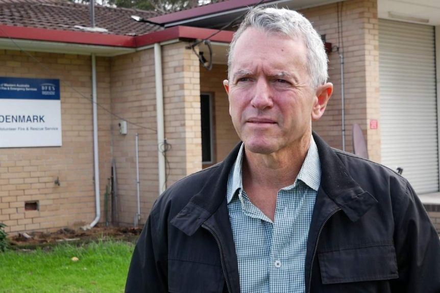 Terry Redman at the Denmark DFES Volunteer Fire and Rescue station.(ABC News: Mark Bennett)