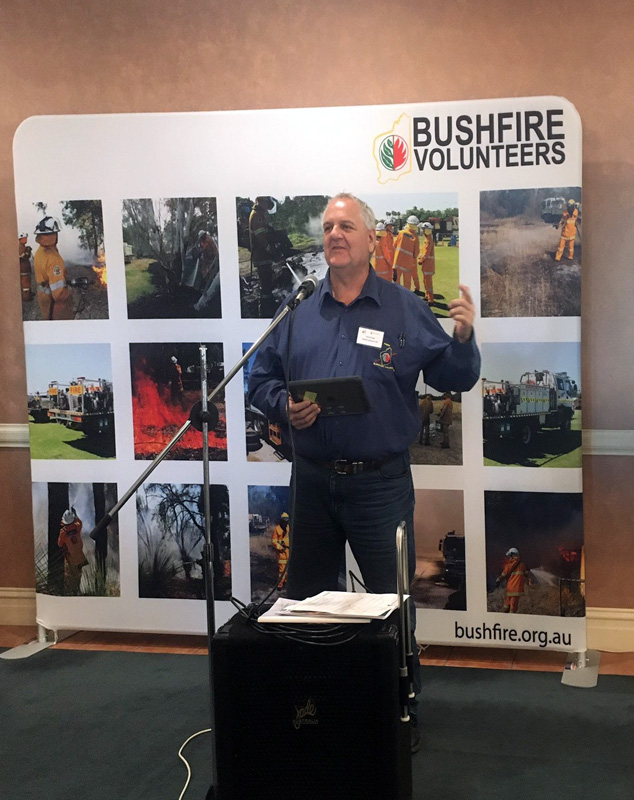 Bushfire Volunteers' President Dave Gossage AFSM presenting at the WA Farmers/Bushfire Volunteers Regional Roadshow in Albany 24 July 2020