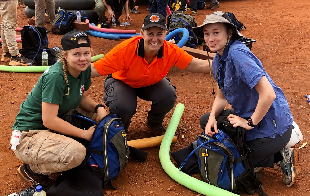2020 WA Cadet Leadership Camp - L-R Mollie Wallace – Dwellingup BFB, Annette Wilson – Tom Price SES (Instructor), Morghan Sattler – Coolup BFB