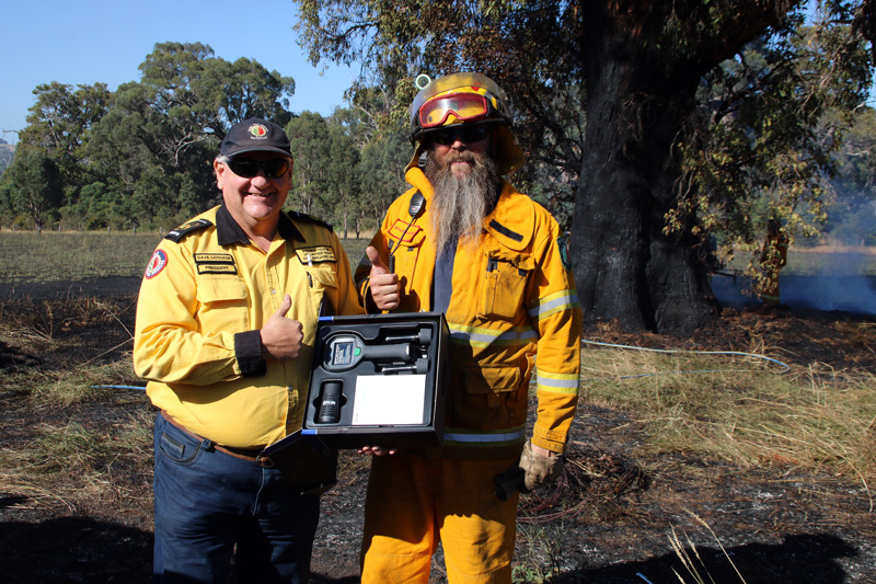 Bushfire Volunteers President Dave Gossage delivering a FLIR Tic to the Balingup Brigade courtesy of the Western Power grants scheme 5/12/2020
