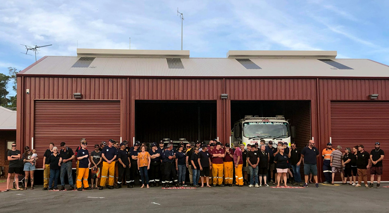 Some of those who attended the anniversary of the 2016 Waroona-Yarloop bushfires January 2021