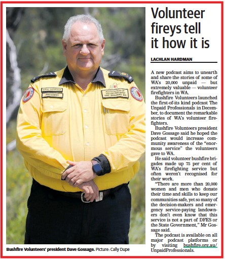 Bushfire Volunteers President Dave Gossage AFSM in The Countryman newspaper re Unpaid Professionals podcast