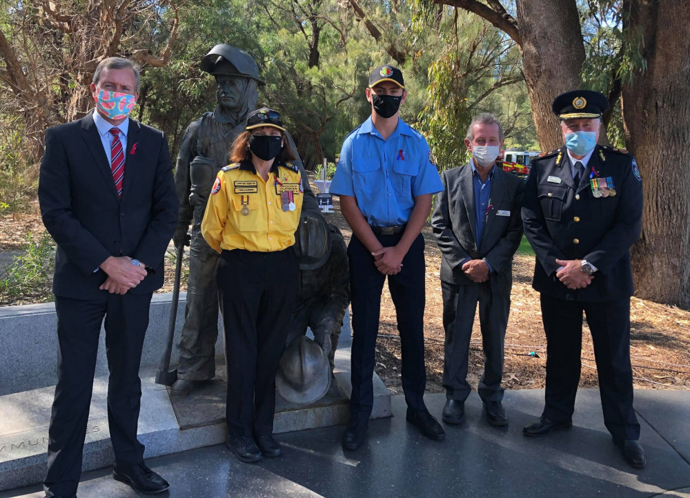 Minister Reece Whitby MLA, Bushfire Volunteers' Lorraine Webster, Member Rhys McDonald and John Mangini, and FES Commissioner Darren Klemm at the International Firefighters Day 2021 Memorial Service in Kings Park, Perth