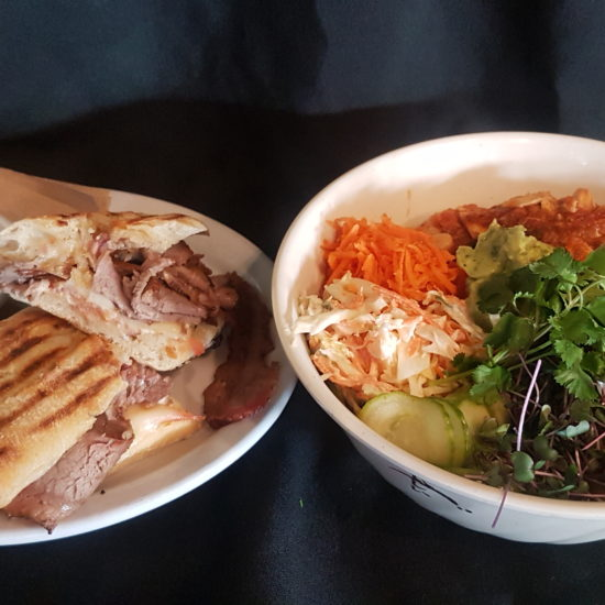 Smoked Beef Brisket Sandwich & Fiesta Hippie Bowl