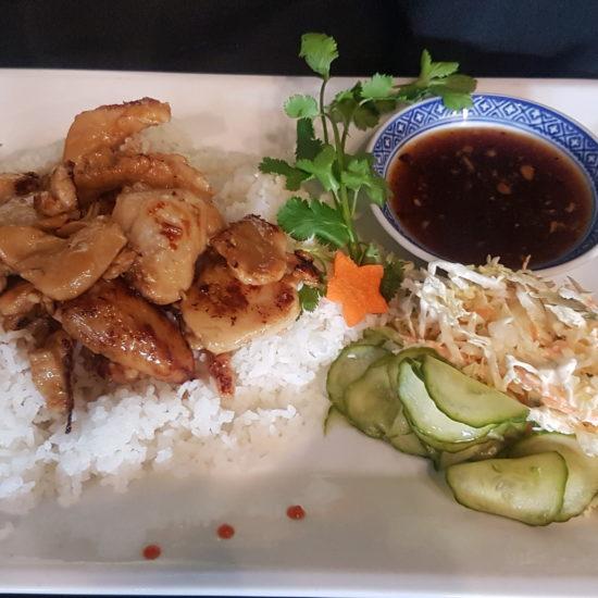 Chicken Satay with Honey Garlic Ginger Sauce