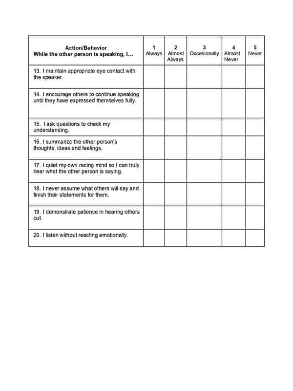 Week 10, Strategy and Tip 9 Action and Behavior Worksheet 2