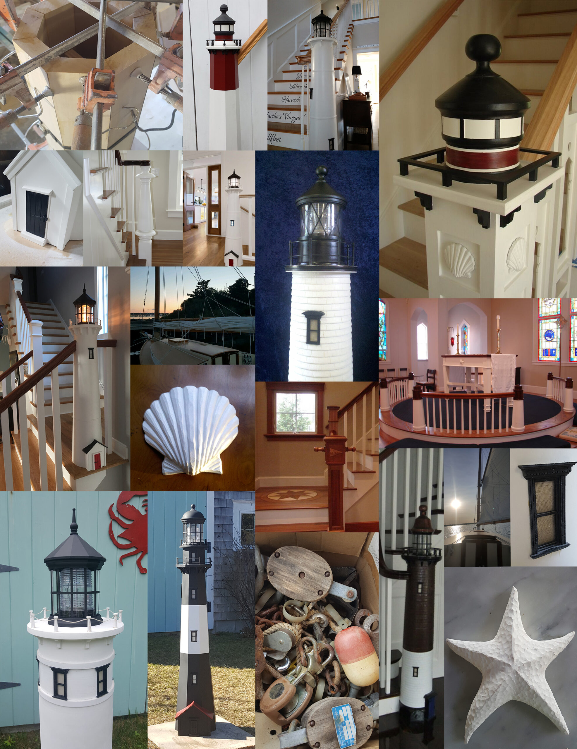 cape cod lighthouse newel post staircase