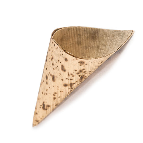 wood and bamboo serving cones