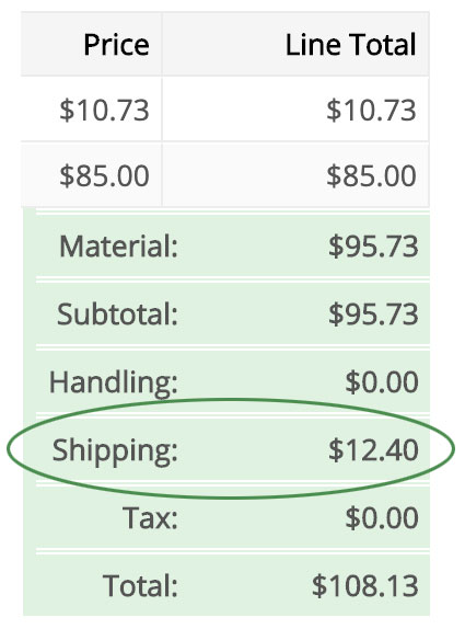shipping total