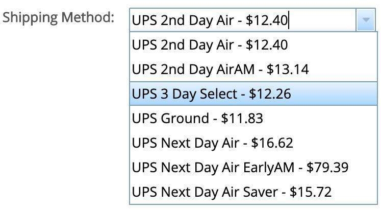 select shipping