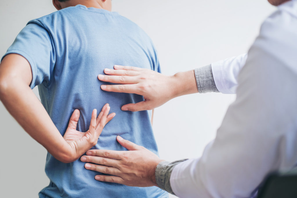 physical exam of the back