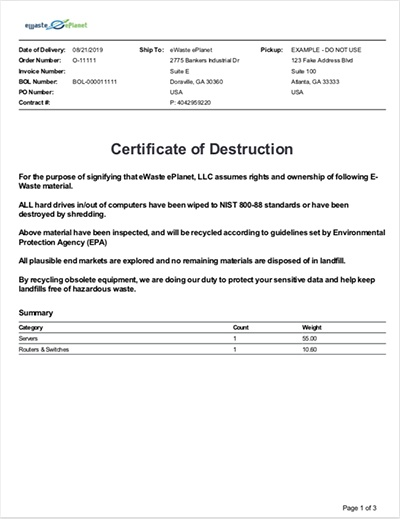 eWaste ePlanet provides Recycling Certificate of Destruction