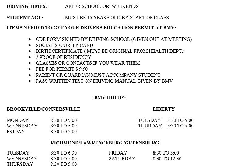 Brookville Class Schedule - Bottom Info
