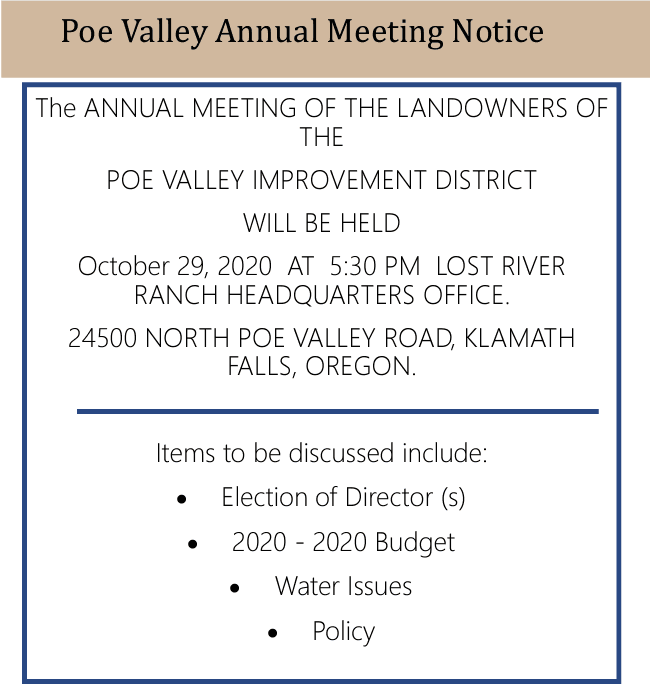 2020 Poe Valley Annual Meeting