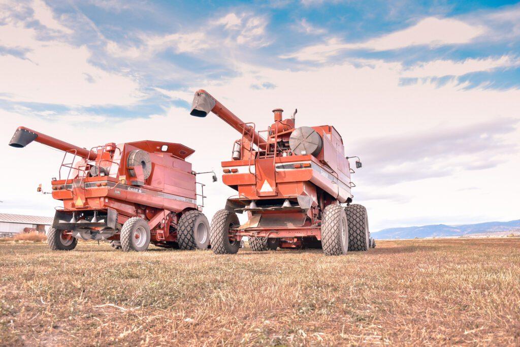 mint harvesters in field