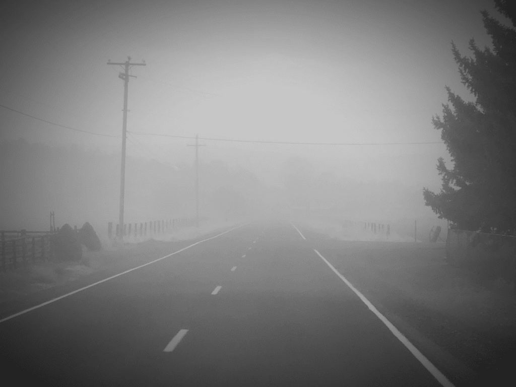 Black and White photo of a Klamath County dust storm