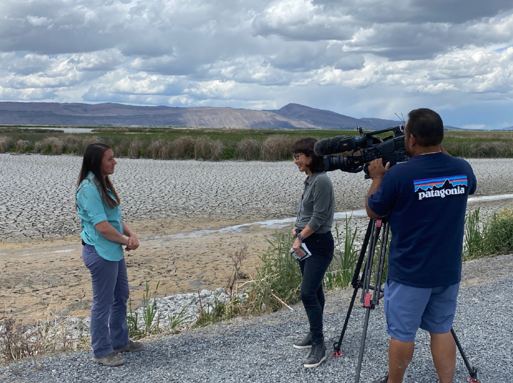 Ducks Unlimited biologist Amelia Roquel talking to film crew at Sump 1A near Tulelake, CA