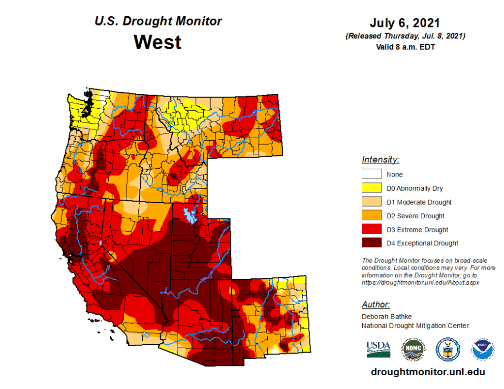 Map of drought in the Western states of the US
