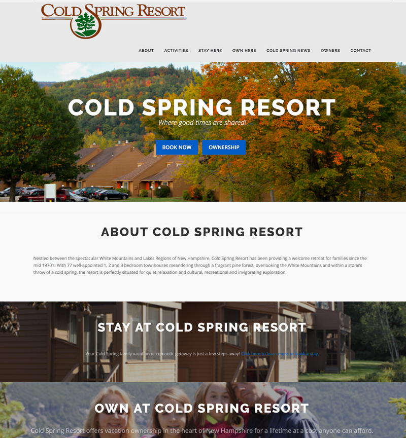 Cold Spring Resort website concept and design in New Hampshire, by EVP Marketing and Media