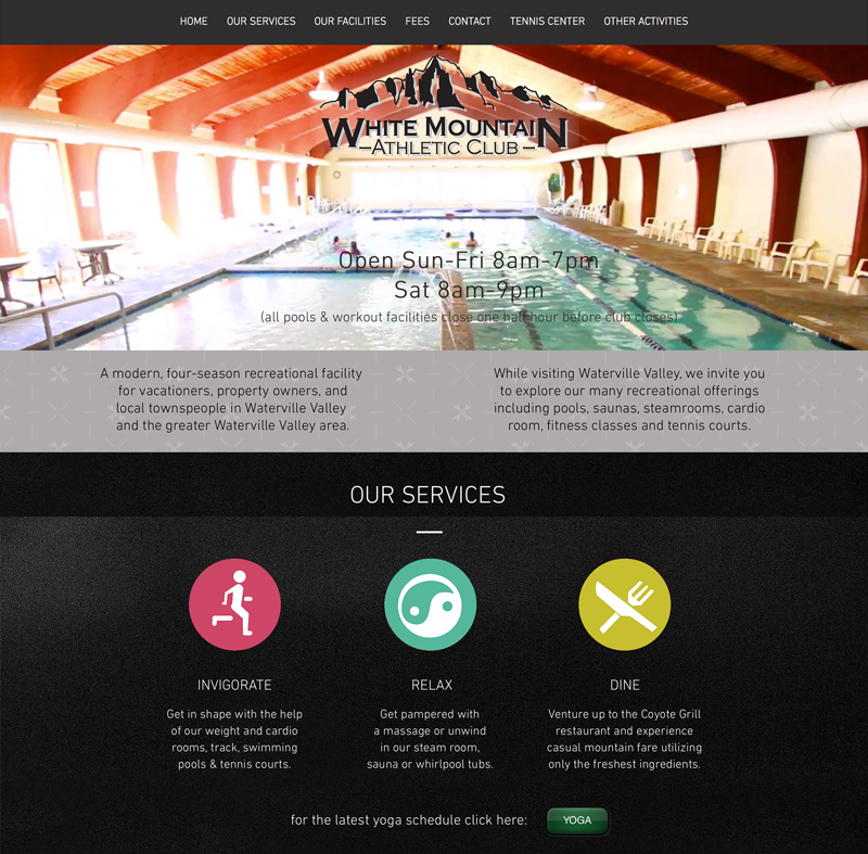 White Mountain Athletic Club website in Waterville Valley New Hampshire