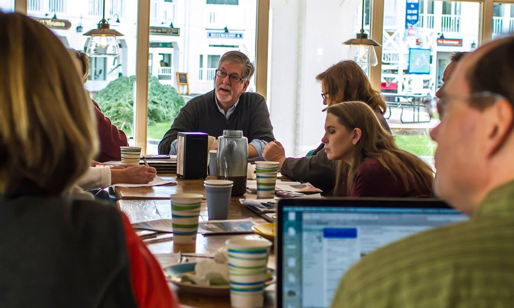 Peter Adams of EVP Marketing and Media hosting a marketing meeting in Waterville Valley, New Hampshire